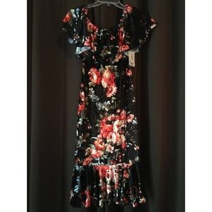 Lularoe CiCi Mermaid Dress - Crushed Velvet Floral